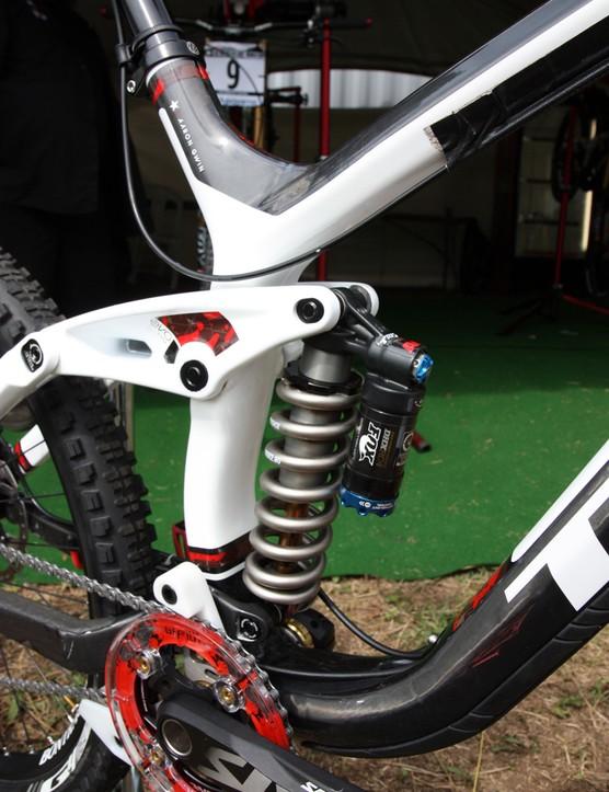 The Fox Racing Shox DHX RC4 rear shock features a Kashima-coated shock shaft