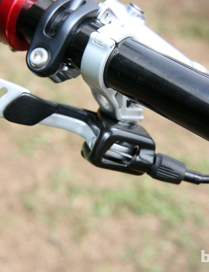 Twin levers are used on the new Fox Racing Shox DOSS dropper seatpost remote lever so that riders can choose their drop amount