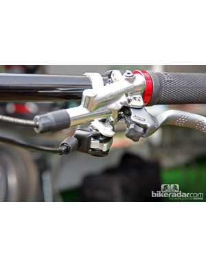 You can just make out the three different mounting hole options for the new Fox Racing Shox DOSS dropper seatpost remote lever
