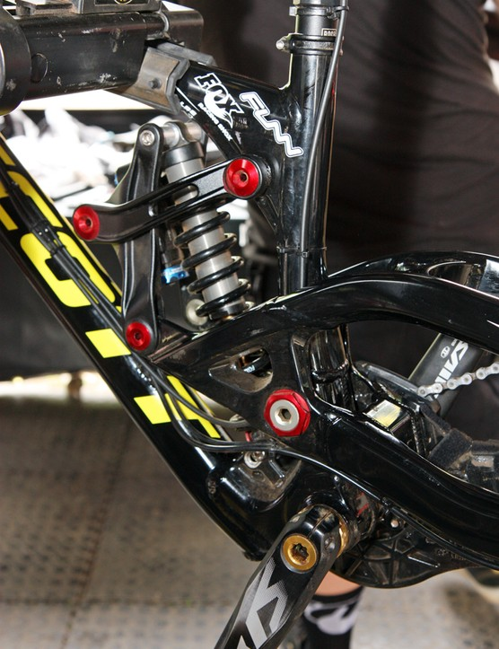 A Fox Racing Shox DHX RC4 rear shock is tucked away behind numerous linkages on the new Scott Gambler