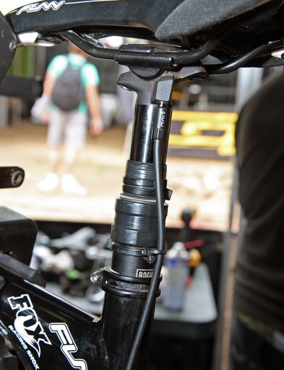 RockShox offers a clamp to limit the travel on the Reverb dropper post but Scott11 team mechanics are apparently making do with electrical tape and zip ties