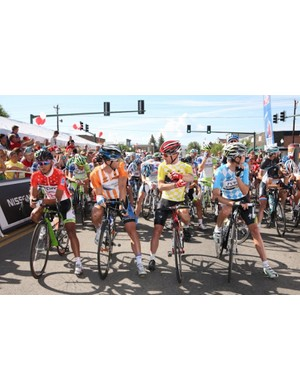The leaders starting a stage at the 2011 USA Pro Cycling Challenge