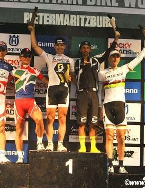 Elite men's podium in Pietermaritzburg: Julien Absalon, Burry Stander, Nino Schurter, Manuel Fumic, Jaroslav Kulhavy