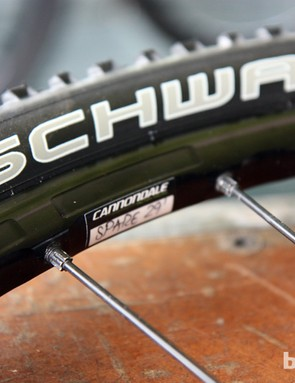 The new Mavic Crossmax SLR 29er wheels feature machined aluminum rim side- and inner walls to help shed some grams.