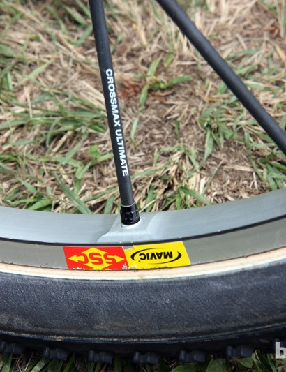 The Mavic Crossmax Ultimate tubular rims are milled on the inner wall to decrease weight.