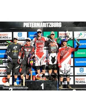Elite men's downhill podium in Pietermaritzburg: Gee Atherton, Aaron Gwin, Greg Minnaar, Michael Hannah, Steve Smith