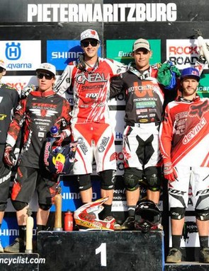 Elite men's downhill podium in Pietermaritzburg: Gee Atherton, Aaron Gwin, Greg Minnaar, Michael Hannah, Steve Smith
