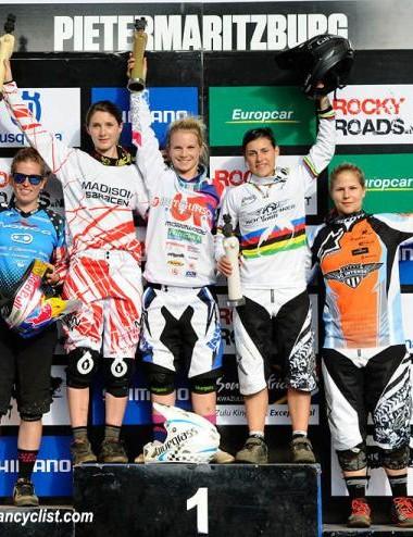 Elite women's downhill podium in Pietermaritzburg: Jill Kintner, Manon Carpenter, Tracey Hannah, Emmeline Ragot, Miriam Ruchti