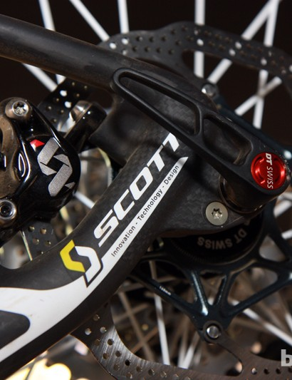 Scott is making a full commitment to thru-axles here. While current Spark frames are convertible between 135mm quick-release and 142mm thru-axle, this special 650b-format Olympic bike is compatible with thru-axles only.