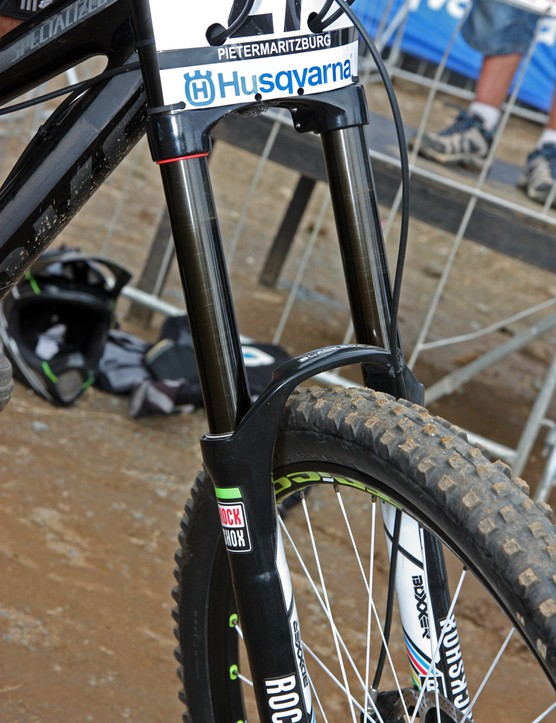 Monster Energy-Specialized's Sam Hill gets a DLC coating on his RockShox Boxxer stanchions