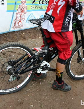 Monster Energy-Specialized rider Troy Brosnan came down the hill today on a new Specialized S-Works Demo Carbon