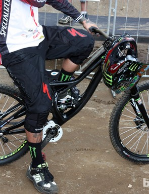 Sam Hill (Monster Energy-Specialized) takes a breather after his run in Pietermaritzburg aboard the new Specialized S-Works Demo Carbon