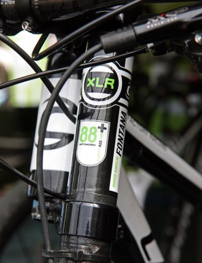 Cannondale's new Lefty configuration still uses 88 needle bearings but they've now apparently anchored on the lower leg and ride up the inside of the upper leg, thereby increasing the amount of bushing and bearing overlap as the fork goes deeper into its travel for even more stiffness