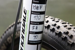 Cannondale are still working out final internal details on the new Lefty, judging by these rider-specific tuning notes
