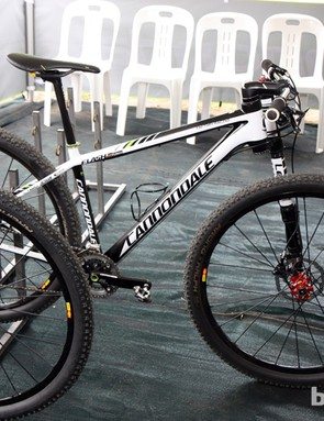 Manuel Fumic's (Cannondale Factory Racing) Cannondale Flash Carbon 29er sits at the ready before Friday's practice laps