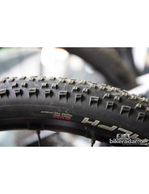 Schwalbe Racing Ralph tires set up tubeless on the Cannondale Factory Racing machines