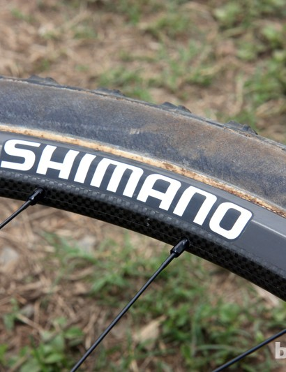 This new Shimano carbon fiber tubular 29er rim isn't borrowed from the road line nor is it a rebadged model from someone else. Rather, Rabobank-Giant mechanics tell us it's a dedicated model