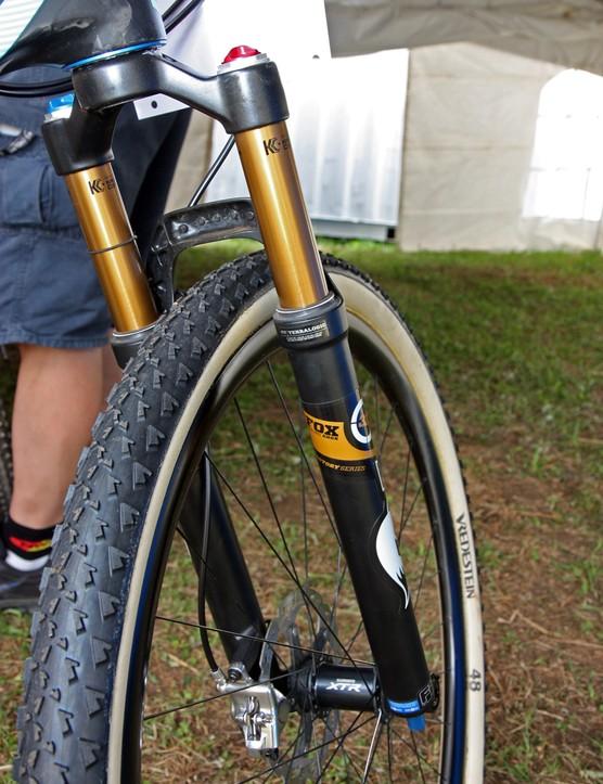 Kashima-coated fork legs reduce friction on Adam Craig's (Rabobank-Giant) new Fox fork