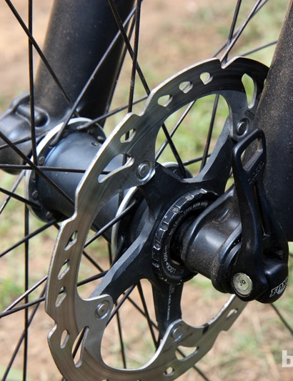 Adam Craig's (Rabobank-Giant) technically aggressive riding style is well suited to the through-axle fork
