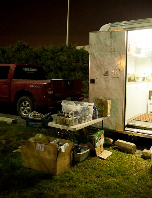 Nissan supplied Skratch Labs a Titan V8 to tow their kitchen trailer