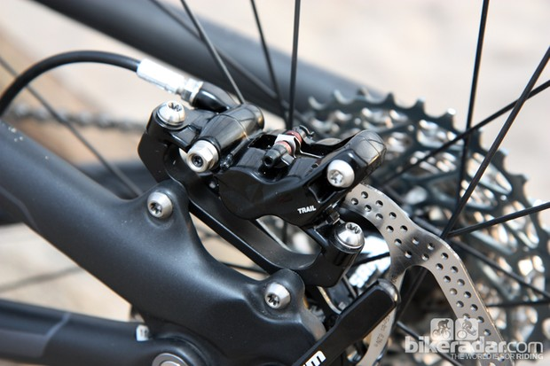 Avid's new X0 Trail four-piston caliper delivers heaps of power – supposedly more than Shimano's XTR Trail – while still retaining a tidy caliper size and shape