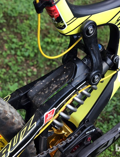 A small plastic fender guards the rear shock