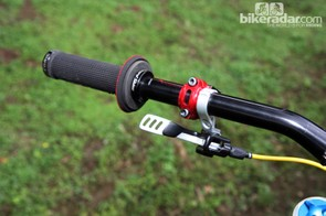 Cedric Gracia (CG Racing Brigade) was among many downhill racers in Pietermaritzburg running a dropper seatpost on the pedaling-intensive track