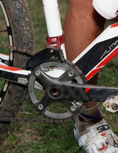 Like many cross-country racers in Pietermaritzburg, Julian Absalon (Orbea) ran a 1x10 drivetrain – with just the big ring in this case