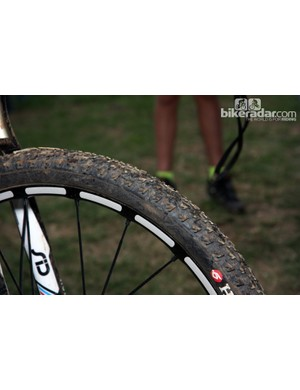 Julian Absalon (Orbea) sneaked in a set of tubular Mavic Crossmax SLR wheels wrapped in Dugast tires – conspicuously covered in giant Hutchinson logos, of course