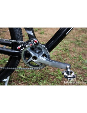 Lukas Flückiger's (Trek World Racing) single-ring setup for Pietermaritzburg, featuring a Shimano XTR crank and chainring secured with a cSixx carbon fiber chain guide