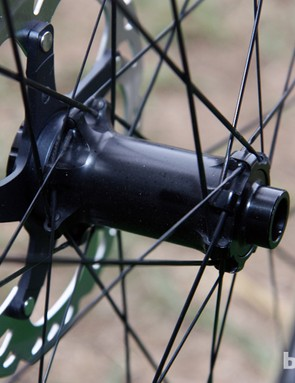 Lukas Flückiger's (Trek World Racing) race wheels are built with Bontrager's latest prototype hubs laced to Trek-built carbon fiber tubular rims
