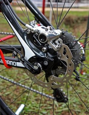 A 140mm rear rotor, titanium hardware and a through-axle on Lukas Flückiger's (Trek World Racing) Trek Superfly