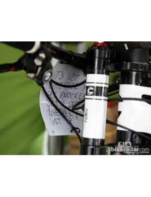 More words of encouragement on the back of Manuel Fumic's (Cannondale Factory Racing) number plate