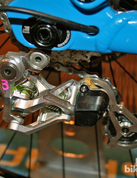 Shimano gave us a sneak preview of the new Saint kit earlier this year but swore us to secrecy. At that stage, design of the Shadow Plus rear derailleur hadn't been finalised so we were shown this crude-looking prototype instead