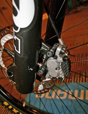 The prototype brake calliper is shown here with finned Ice Technologies pads and RT99 rotor