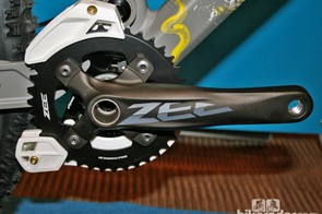 The Zee crankset has solid rather than hollow arms to cut costs without sacrificing strength