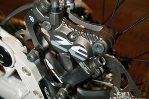 Zee's brakes have four pistons instead of the two found in Shimano's cross-country/trail stoppers