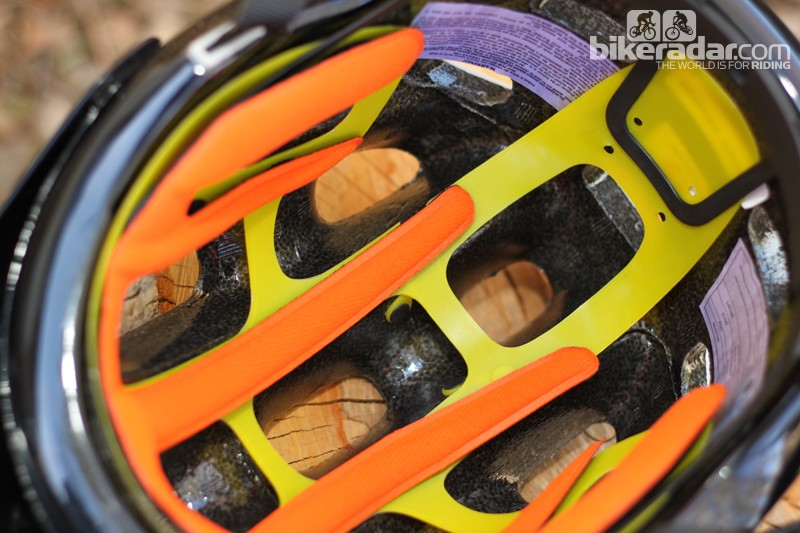 The MIPS liner holds the helmet's pads and rear retention system