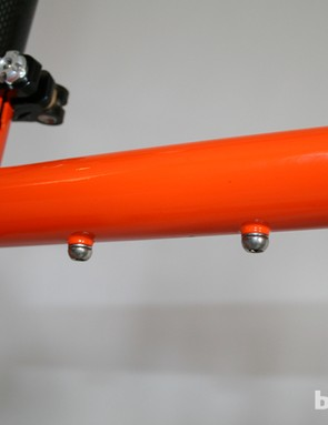 A set of bottle bosses is squeezed in on the Cotic Rocket, on the underside of the top tube