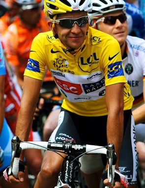 Carlos Sastre on his way to victory at the 2008 Tour de France