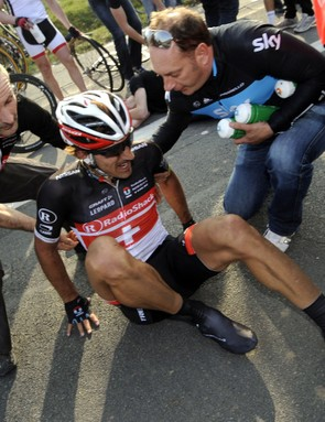 Fabian Cancellara came to grief in the E3 Prijs but wasn't seriously injured