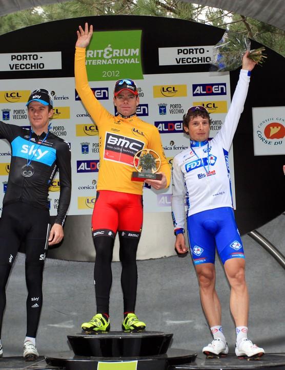 Cadel Evans topped the podium in Criterium International, ahead of Pierrick Fedrigo (R) and Michael Rogers (L)