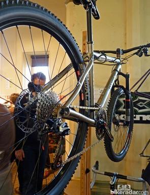 Burls were also showing this titanium mountain bike