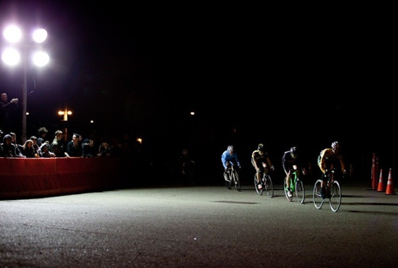 A group of chase riders string it out in pursuit of leader Dan Chabanov