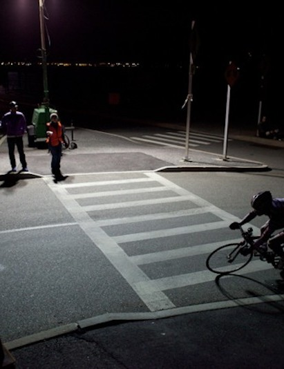 Cornering at night on a fixed gear bike takes some finesse