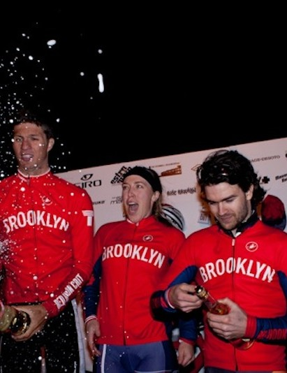 The 2012 Red Hook Criterium podium including women's winner Kacey Manderfield and Dan Chabanov