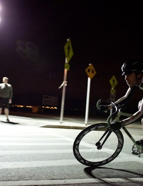 Rock Lobster rider Aaron Bradford chases lone leader Dan Chabanov in the late-going of the fifth annual Red Hook Criterium