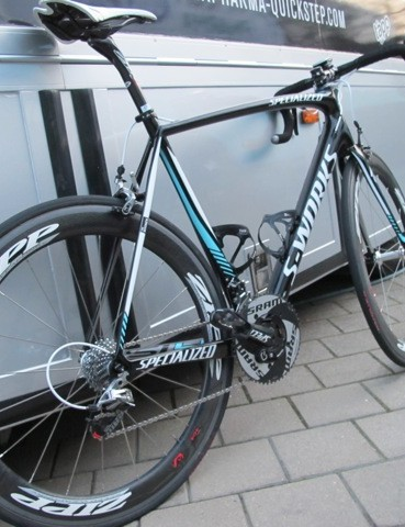Tom Boonen's (Omega Pharma-Quick Step) new Specialized S-Works Tarmac SL4 sports a rather understated paintjob