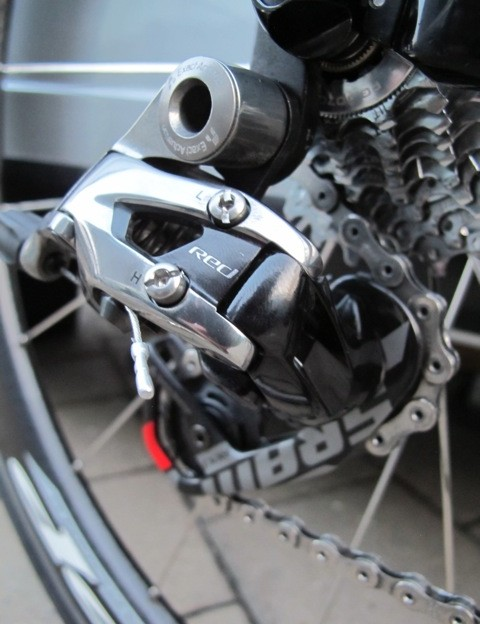 The new SRAM Red 2012 rear derailleur on Tom Boonen's (Omega Pharma-Quick Step) Specialized S-Works Tarmac SL4