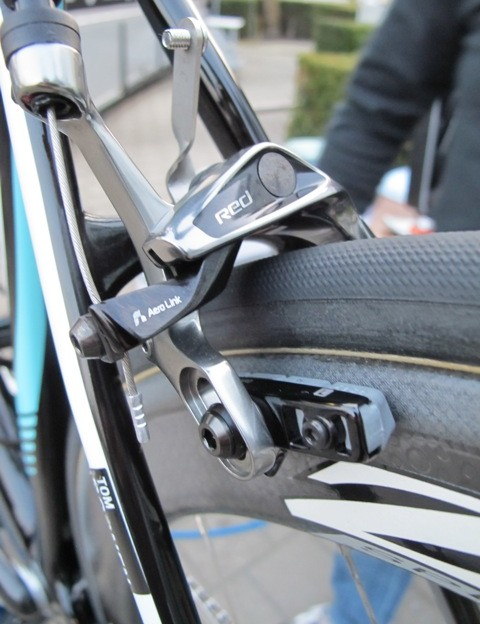 Tom Boonen's (Omega Pharma-Quick Step) new SRAM Red 2012 brake calipers are fitted with Zipp Tangente Platinum Pro carbon-specific pads